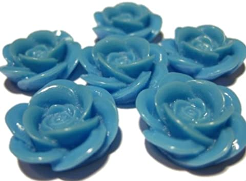 Cornflower Blue Resin Cabbage Rose Cabochons 18mm x 10 pieces