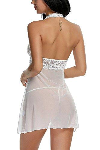 ADOME Spitze Negligee Damen Sexy Nachtwäsche Nachtkleid Nachthemd Lingerie Dessous Set Reizwäsche Sleepwear Kleid Babydoll Weiß