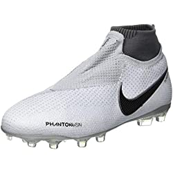 Nike Jr Phantom Vsn Elite DF FG/MG, Zapatillas de Fútbol Unisex Niños, Dorado (Pure Platinum/Black/Lt Crimson 060), 36.5 EU