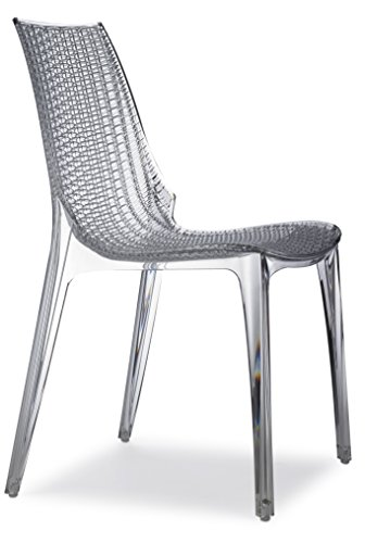 Parada One Design 2651 100 Tricot Modern Indoor/Outdoor Stackable Dining Chair Woven Recyclable Polycarbonate Frame, Transparent