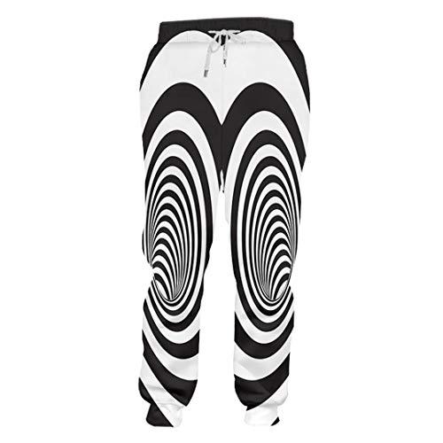 DE-pants-personality Männer Trend Schwindlig Streifen Jogginghose 3D Gedruckt Kreative Schwarz Weiß Stitching Vortex Kleidung Mann Spandex Hosen Black White Vortex M (Kleidung Für Mädchen Aeropostale)