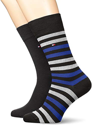 Tommy Hilfiger Herren TH Men Duo Stripe 2P Socken, Blau (Vivid Blue 040), 43/46 (2erPack) (Blue-stripe-socken)