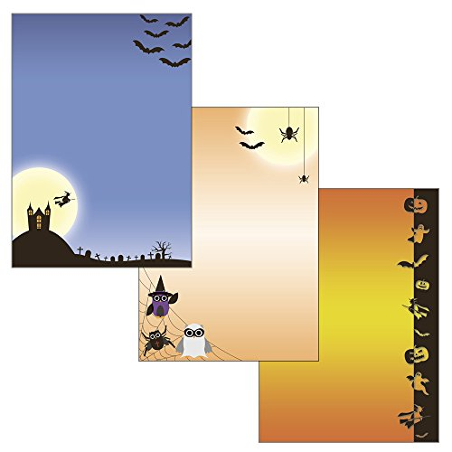 Halloween Mix - 3 Motive 52-teilig 25 Blatt Briefpapier + 25 Stück Briefumschläge + 2 Postkarten 521+5220+5230+U