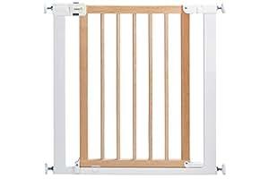 Safety 1st Easy Close Wood & Metal Treppenschutzgitter, mit Schwung schließbar, Türschutzgitteraus Holz und Metall zum Klemmen, bis 136 cm verlängerbar