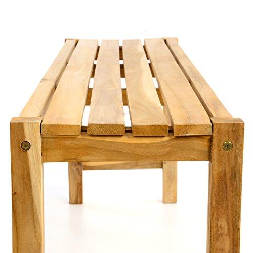 Divero DIVERO Gartenmöbelset Picknickset Sitzgruppe Teakholz Bank Tisch Natur Tisch 135cm