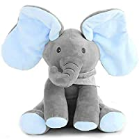 Uni-Wert PEEK-A-Boo Elephant Plush Doll Hide-and-Seek Game Sing and Play Plush Interactive Toy Cute Animated Plush Elephant Doll Present for Baby Kids