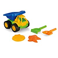 Yello BU1280 5-Piece Large Beach Truck Set, Spade, rake, Mould and Sand Tipper Lorry, Multi