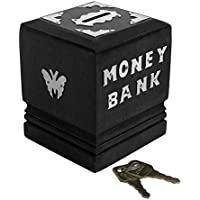ZYNTIX® Handicrafted Wooden Money Bank Kids Piggy Coin Box Gifts Black Medium Density Fiber with Silver Work | Coin Box…