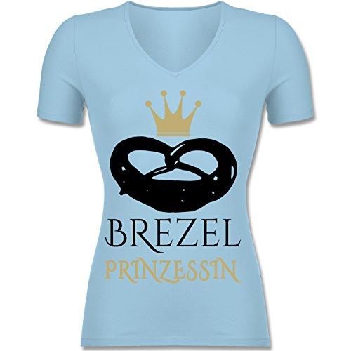 Oktoberfest Damen - Brezel Prinzessin - M - Hellblau - F281N - Tailliertes T-Shirt mit V-Ausschnitt für Frauen