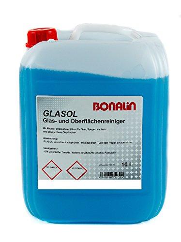 Bonalin Glasreiniger Glasol Anwendungsfertiger Glasreiniger 10 Liter für verglaste Flächen, Spiegel und Kacheln