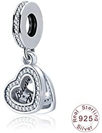 83d8bffe572b Zxx Jewelry Amor de Doble Capa de Las Mujeres de la Muchacha Charms S925  Plata esterlina Cubic Zirconia Colgante de Perlas día de…
