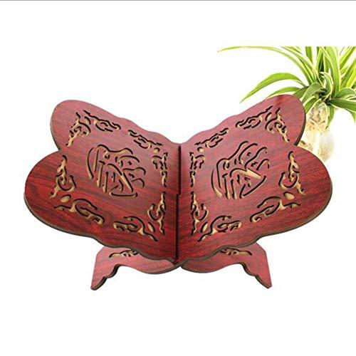 NanXi Holz Buchständer Halter Koran Muslim Ramadan Allah Islamisches Geschenk Buchstützen Abnehmbare Handgemachte Holz Buch Dekoration,Rot,20 * 29cm
