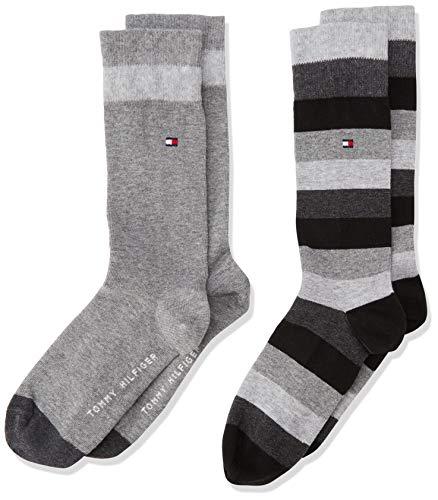 Tommy Hilfiger Jungen TH KIDS BASIC STRIPE 2P Socken, Schwarz (black 200), 35 (Herstellergröße: 35-38) (2er Pack) -