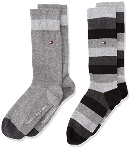 Tommy Hilfiger - Th Kids Basic Stripe Sock 2 Paia, Calze per bambini e ragazzi, nero(schwarz (black 200)), taglia produttore: 39-42