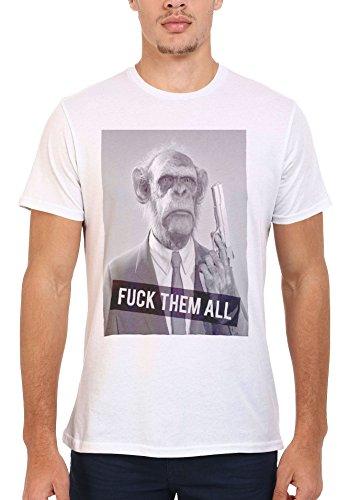 F*ck Them All Monkey Gun Cool Men Women Damen Herren Unisex Top T Shirt .Weiß