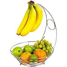 Top Home Solutions Panier à fruit avec accroche-bananes Chrome