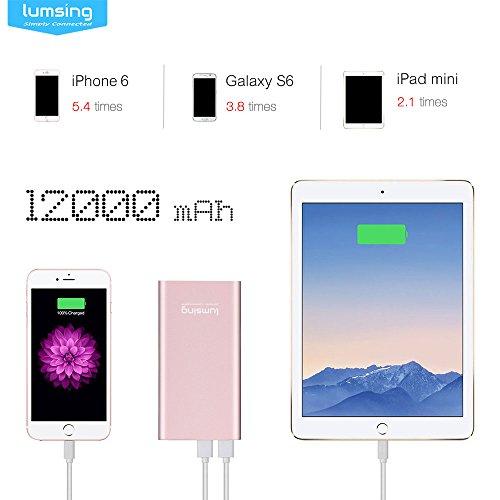 Lumsing-Pilot-4GS-12000mAh-Batera-Externa-ultra-delgada-Cargador-porttil-externo-con-2-puertos-Entrada-Lightning-de-Apple-Powerbank-especial-para-iPhone-y-tambin-para-Samsung-Galaxy-Android-y-otros-Sm