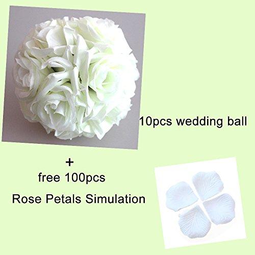 LVYIMAO Hochzeits-Blumen Rosenkugeln, 15 cm, künstliche Blumen, Seidenball für Brautsträuße für Zuhause, Garten, Party-Dekoration weiß