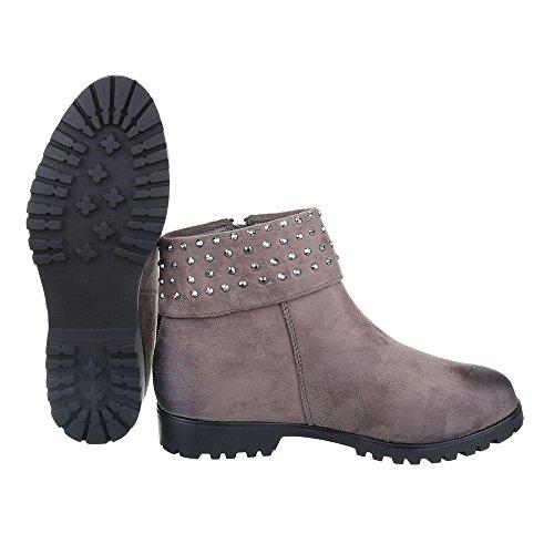 Komfort Stiefeletten Damen Schuhe Schlupfstiefel Blockabsatz Leicht Gefütterte Reißverschluss Ital-Design Stiefeletten Braun Grau