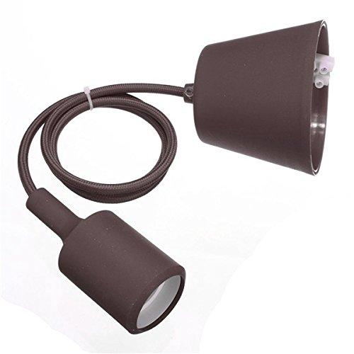 takestop® PENDENTE marrone A SOFFITTO PORTALAMPADA LAMPADA MODERNO MODERNI DESIGN E26 E27 CAVO IN TESSUTO (Soffitto Cavo)