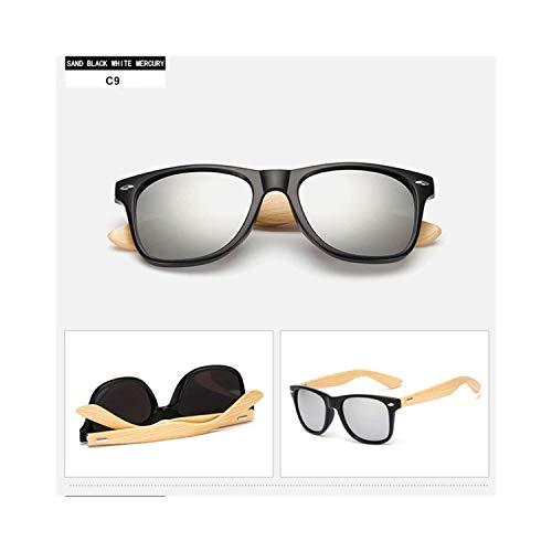 Sport-Sonnenbrillen, Vintage Sonnenbrillen, 14 Farbe Wood Sunglasses Men Women Square Bamboo Women For Women Men Spiegel Sun Glasses Retro De Sol Masculino NEW Handmade 9-Black.Silver