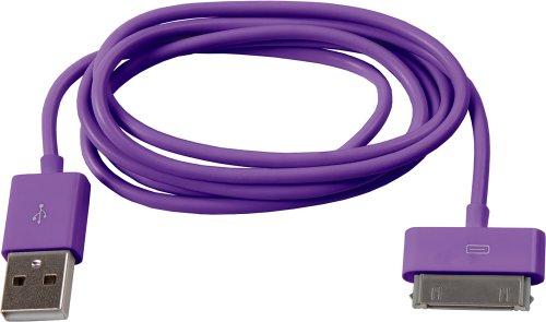 Smartfox 2in1 Apple Dock Connector Datenkabel, Lila / Violett (Generation 4. Nano Ipod Gelb)