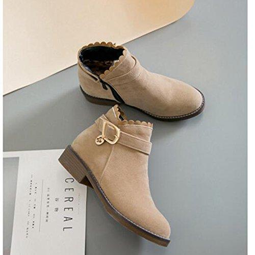 803759602f4b Haizhen Bottines Chaussures Femme Plissé Chaussures À Talons Hiver   Cheville  Bottes Pour Robe Beige Gris ...