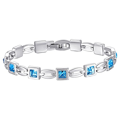 MONDAYNOON Damen Element Kristall Charme Armband (Meeresblau)