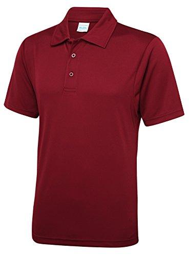 Just Cool - Performance Polo Shirt, atmungsaktiv, Burgund, Gr.XXL - Burgund-polyester-gewebe