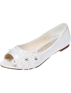 Emily Bridal scarpe da sposa Tacco a spillo piatto da donna in raso con tacco in cristallo