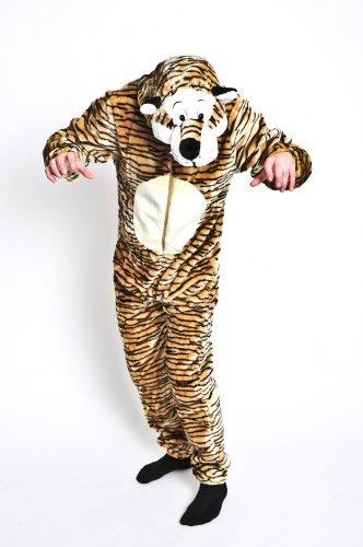 Foxxeo Premium Plsch Tiger Kostm fr Erwachsene Damen und Herren Tierkostm Overall Jumpsuit Grße M (Dschungel Tiger Kostüm)