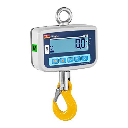 Dinamómetro digital CEKO+LCD1000V-BB de TEM El gancho pesador de TEM está homologado para el comercio y cumple con los requisitos legales. Con una capacidad de 1000 kg y una serie de características adicionales como la comunicación Bluetooth, pantall...