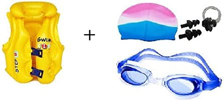 ARFA Children Swim Vest, Kids Life Jacket, Swimming Cap, Goggles and Ear Plug Combo (Multicolour)