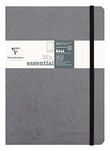 Clairefontaine 793435C Notizbuch AgeBag My Essentials, DIN A5, 14,8 x 21 cm, 96 Blatt, dot, nummeriert, 90g, 1 Stück, grau - Grau Dot