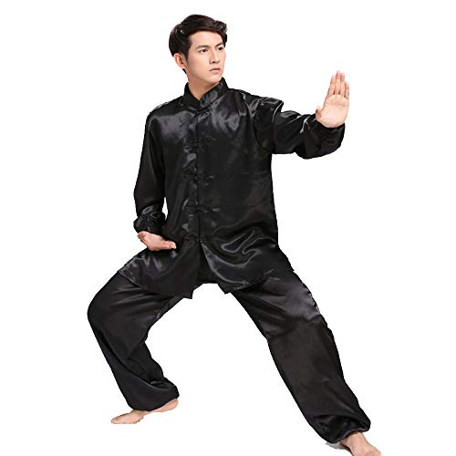 ssr Tai Chi Uniform Damen Herren Kung Fu Anzug Tai Chi Performance Kleidung Langarm Kampfsport Trainingsanzug Polyester Baumwolle,Black-XXXXL