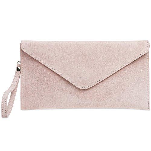 CASPAR TL708 Damen Velours Wildleder Envelope Clutch Tasche Abendtasche mit Handschlaufe Rosa