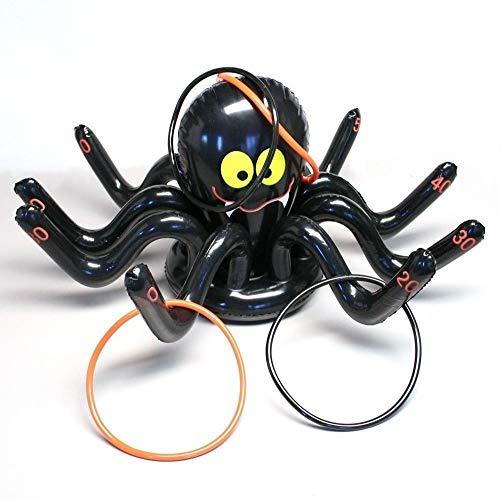 Techrace Toss Toys, aufblasbare Spinne Octopus Ring Toss Spiel Halloween Weihnachten Kinder Party Garten Spielzeug mit 4 Ringen (Spinnen Ringe)