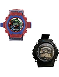 Shanti Enterprises Combo Avengers 24 Images Projector Watch And Sports Watch Multi Color Dial For Kids - B07572YB9B