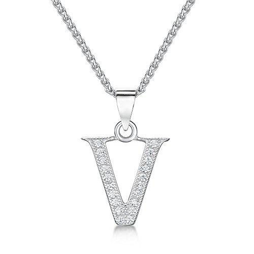Sólo Jo inicial 'V' plata de ley y circonita cúbica Letra Colgante en 41–46cm cadena de Spiga