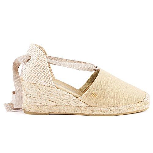 "VISCATA Escala 2.5"" Heel, Soft Ankle-Tie, Closed Toe, Classic Espadrilles Heel Made in Spain Beige - beige"