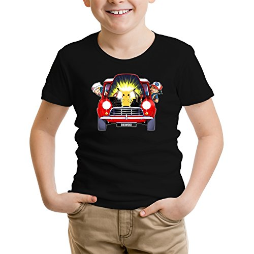 Okiwoki T-Shirt Enfant Noir Pokémon parodique Pikachu, Sasha et Aurore : Pika dépannage (Parodie Pokémon)
