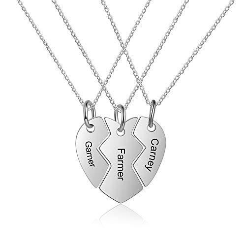 Grand made nome personalizzato collana con catena in argento con 3 nomi collana familiare regalo per anniversario compleanno festa della mamma bbf argento nome collana donna gioielli