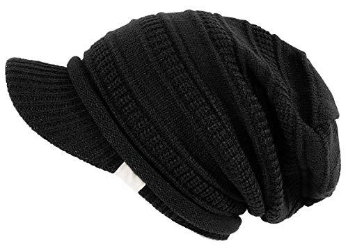 dy mode Damen Strickmütze mit Schirm Schirmmütze Herren Unisex - A300 (A300-Nightblack)