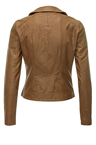 Only Onlsteady Faux Leather Biker Cc Otw, Giacca Donna cognac