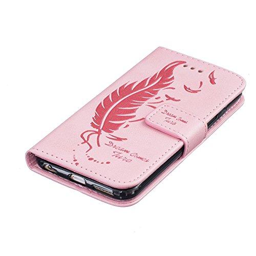 Custodia iPhone 6, ISAKEN Custodia iPhone 6S, iPhone 6 Flip Cover, Elegante borsa Dente di leone Design Custodia in Pelle Protettiva Portafoglio Case Cover per Apple iPhone 6 4.7/ con Strap / Support Piuma dream: rosa