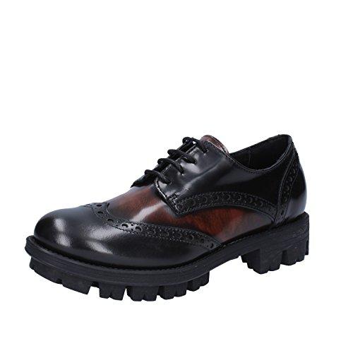 LEA FOSCATI Zapatos Elegantes Mujer Negro Marrón Cuero brillante (35 EU) WYv6gq1H