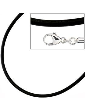 JOBO Kautschuk-Kette schwarz 3 mm 45 cm, Verschluss 925 Silber