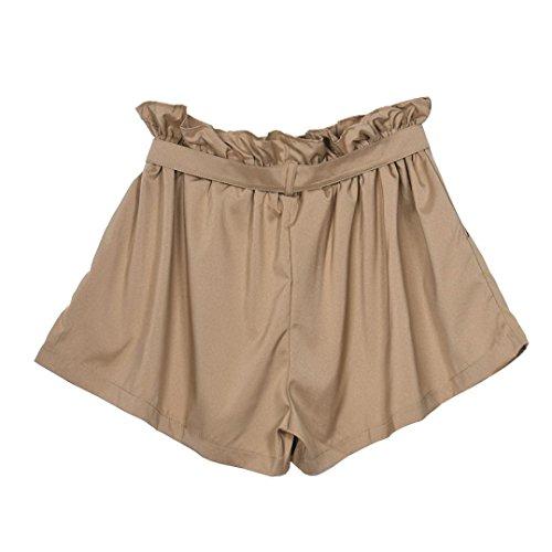 Amlaiworld Femmes en vrac à la mode Shorts femme avec ceinture Kaki