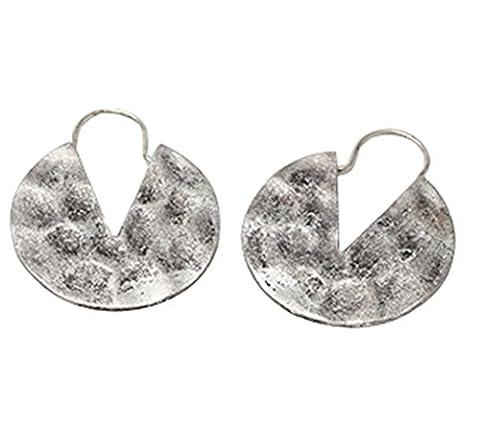 Women's Brass Gold Tone Round Hammered Effect Dangle Hoop Earrings DE051-02