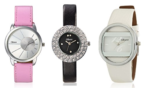 Oleva Ladies Leather Watch Set of 3 Combo OSC-131